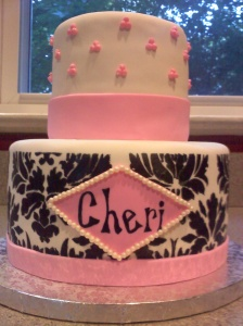 A cake for Christina's friend, Cheri, for her 40th birthday that is both feminine and fun, just like the birthday girl! The inside was almond cake with fresh raspberry filling. Happy birthday, Cher!